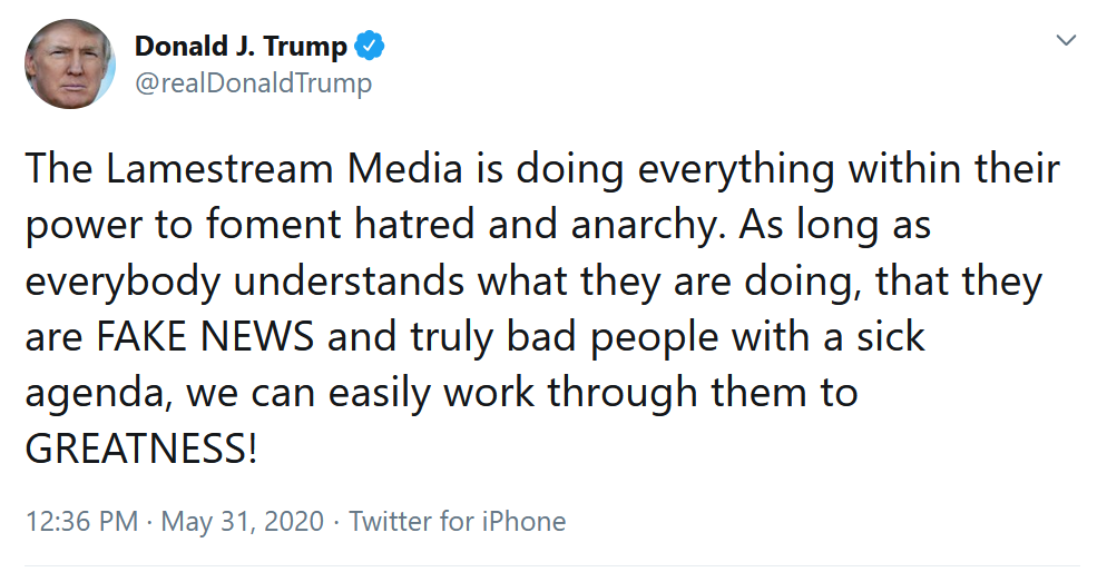 """5-31 """"The Lamestream Media.. foment hatred and anarchy"""""""