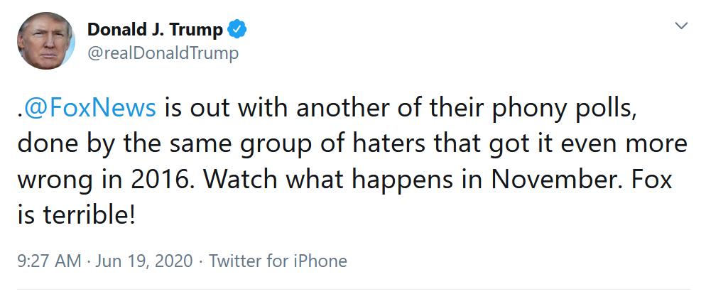 """6-19 """"Fox News"""" and """"their phony polls"""""""