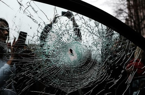 windows being smashed and other damages