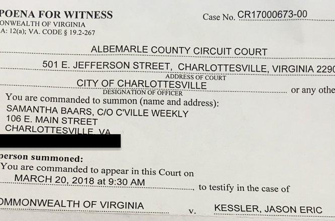 Samantha Baars subpoena