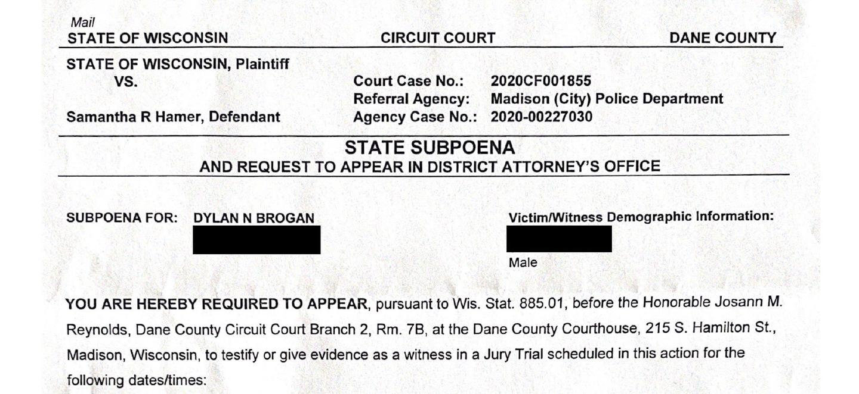 Brogan WI subpoena