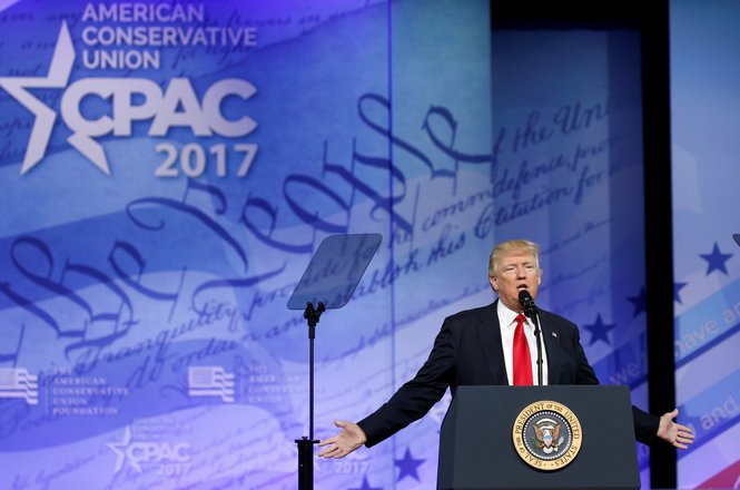 U.S. President Donald Trump speaks at the Conservative Political Action Conference, or CPAC, in Oxon Hill, Maryland, U.S., February 24, 2017.