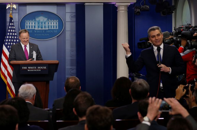 Jim Acosta at White House briefing with Sean Spicer