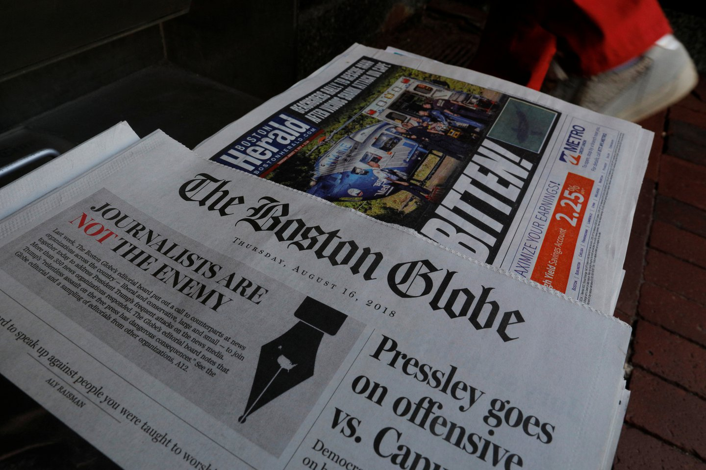 Boston Globe free press editorial on newsstand