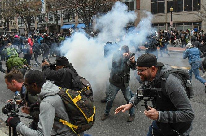 Stun grenades deployed by police