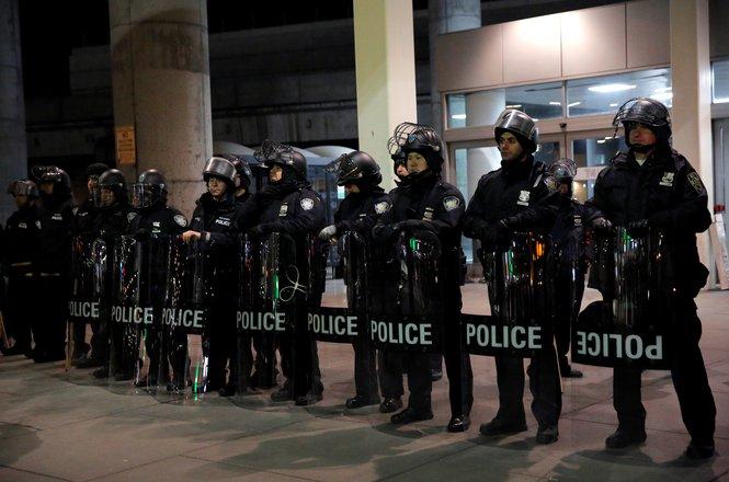 Port Authority police outside JFK Terminal 4