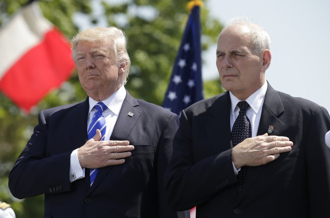 Donald Trump and John Kelly at U.S. Coast Guard 2017 commencement ceremony
