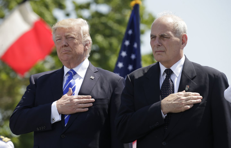 Donald Trump and John Kelly at U.S. Coast Guard 2017 commencement ceremony