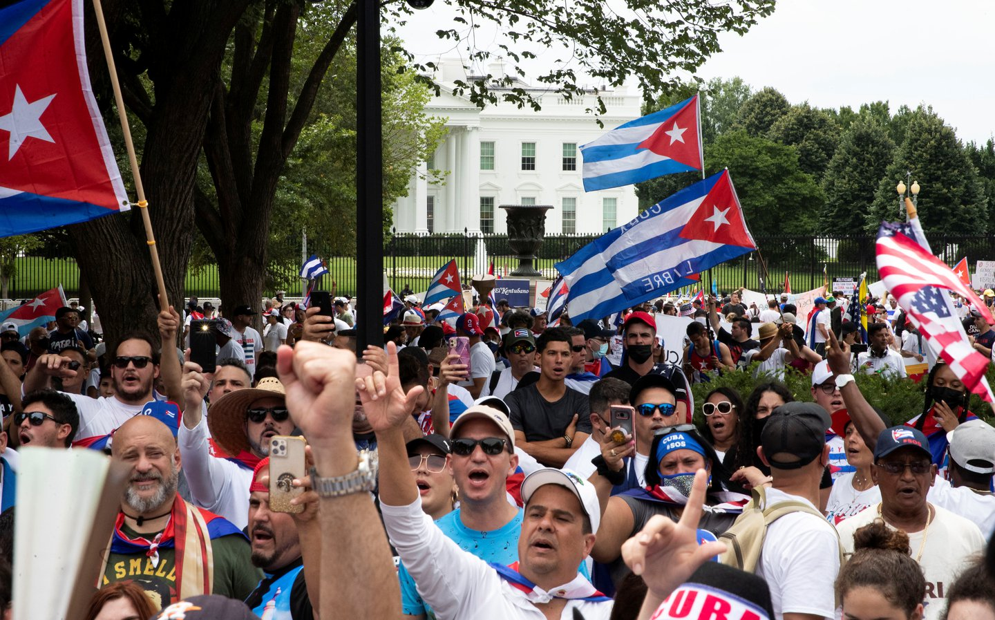 Protesters in D.C. supporting Cuba.JPG