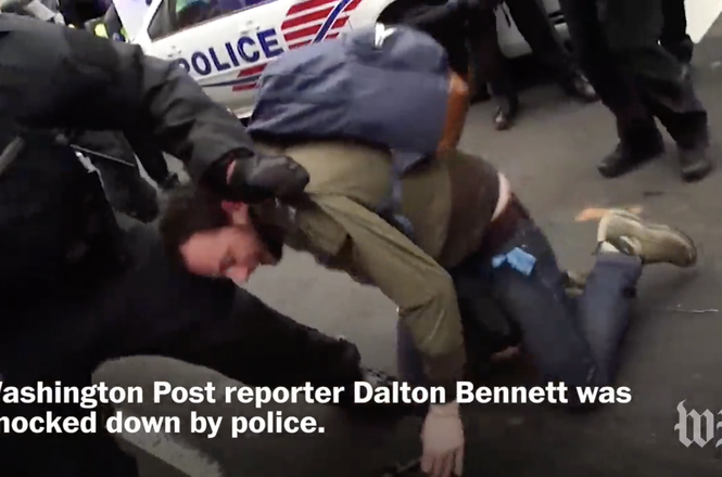 Dalton Bennett on ground at Inauguration protest