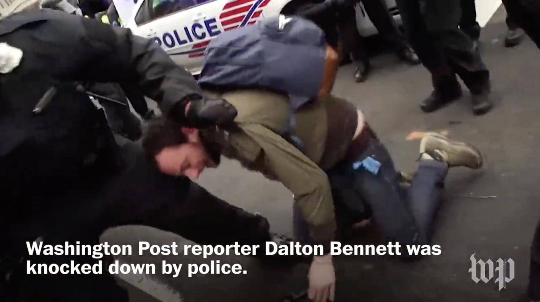 Dalton Bennett on ground at Inauguration protest