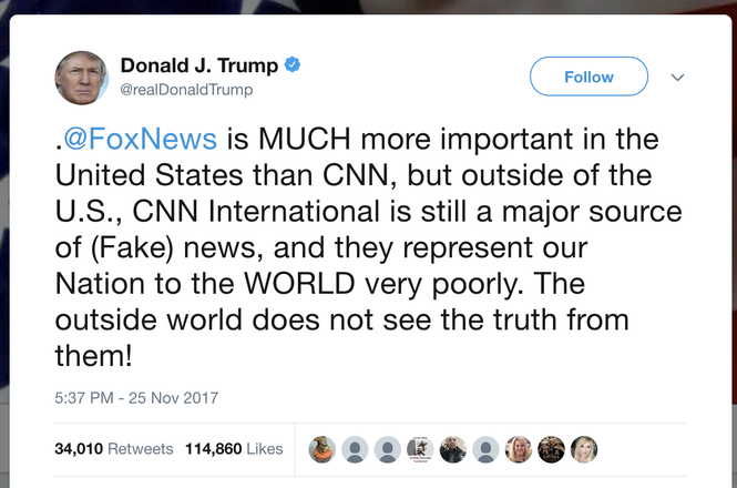 Trump tweet about CNN International