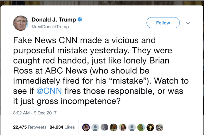 Trump tweet about Brian Ross