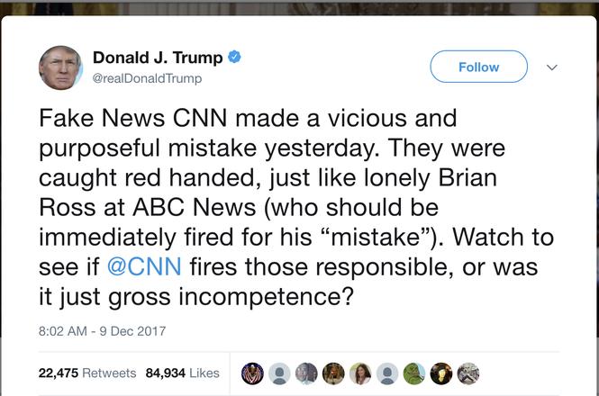Trump tweet about Brian Ross