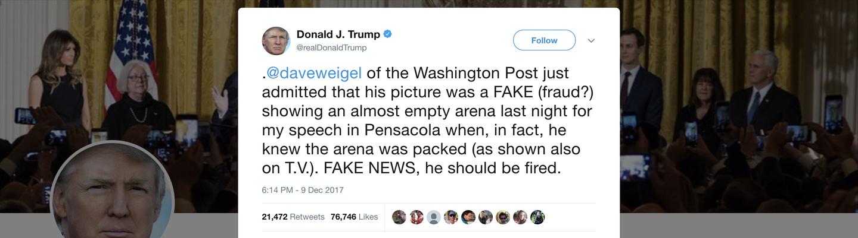 Trump tweet about Dave Weigel