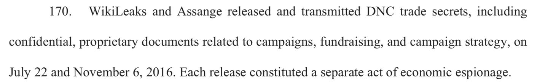 DNC lawsuit against Wikileaks