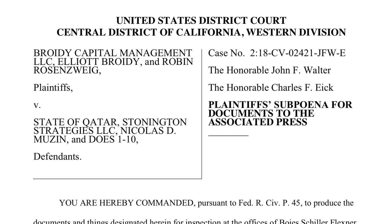 Broidy subpoena to AP