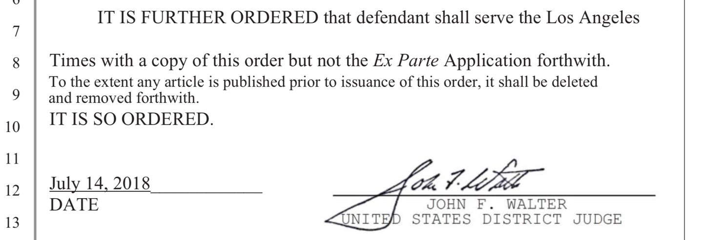 Los Angeles times temporary restraining order