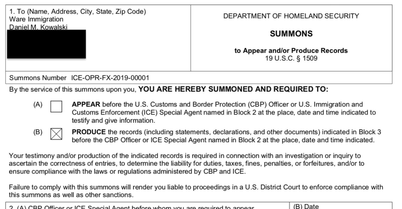 DHS subpoena to Kowalski excerpt