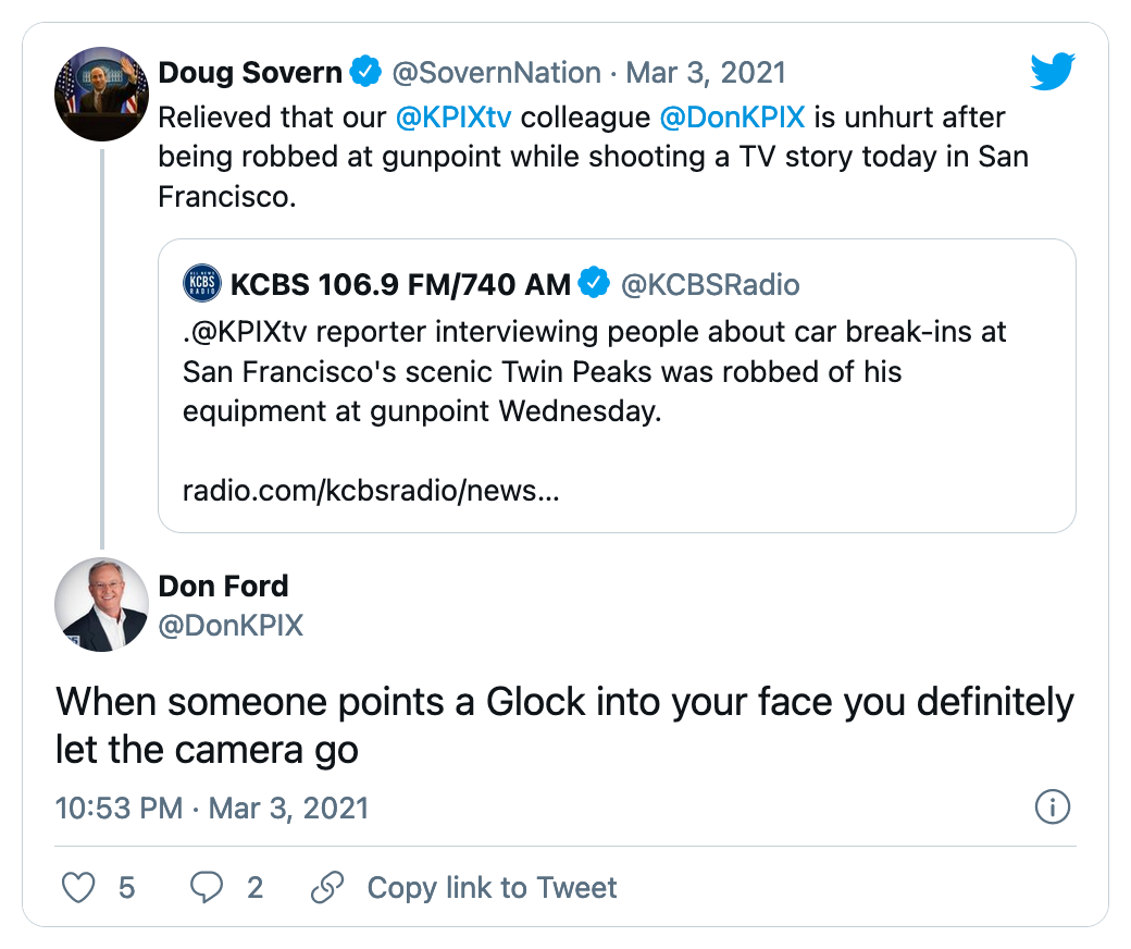 Image of a tweet from a broadcaster robbed at gunpoint