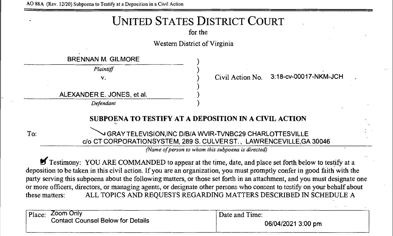 WVIR Subpoena